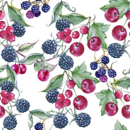 Background of blackberries, cherries and currants. Seamless pattern. Watercolor illustration