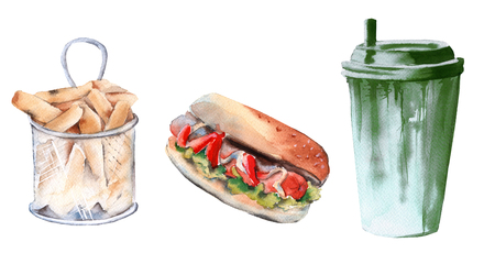 set of hot dogs, deep-fried potatoes and a drink in a paper cup. isolated on white background. watercolor illustration.