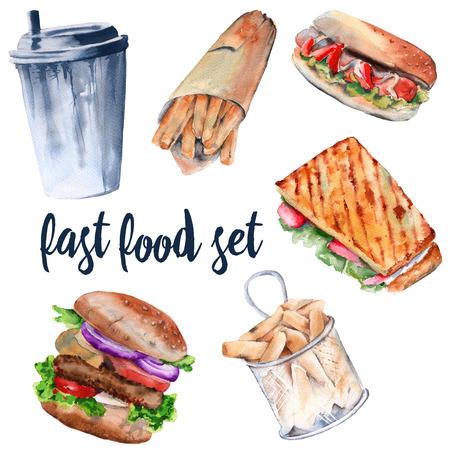 mayonnaise: Hot sandwich, hamburger, deep-fried potatoes, drink, hot dog. isolated on white background. watercolor illustration. Stock Photo