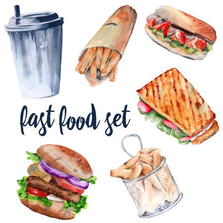 Hot sandwich, hamburger, deep-fried potatoes, drink, hot dog. isolated on white background. watercolor illustration. Stock Photo