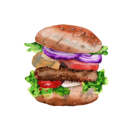 big hamburger with a cutlet. isolated on white background. watercolor illustration.