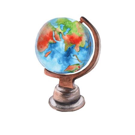 Globe on the stand. Isolated on white background. Watercolor illustration