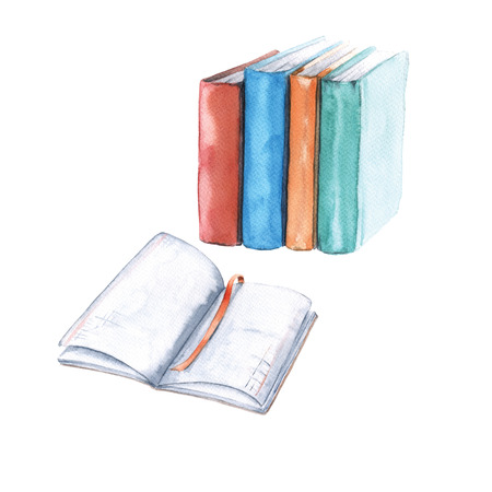 Notebooks and textbooks. Isolated on white background. Watercolor illustration Banco de Imagens