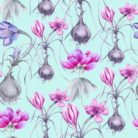 Background of a crocus flower with a root. Seamless pattern. Watercolor Illusion