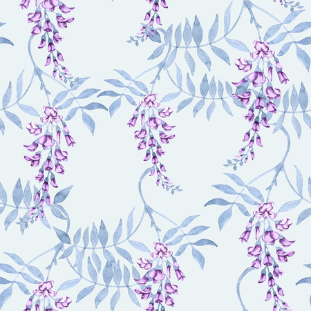 Background of flowers on a branch of a wisteria. Seamless pattern. Watercolor illustration