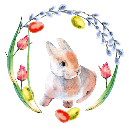 Easter wreath of flowers and twigs with Easter eggs and a rabbit. Isolated on white background. Watercolor illustration. Stock Photo