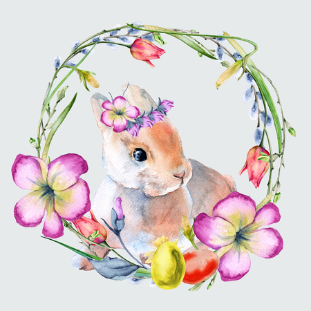 Easter wreath of flowers and twigs with Easter eggs and a rabbit. Isolated on background. Watercolor illustration. Stock Photo