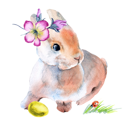 Easter bunny in flowers with Easter eggs. Isolated on background. Watercolor illustration.