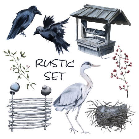 Set of country elements. Two crows, a heron with a nest, a wattle fence, a well. Isolated on white background. Watercolor illustration.