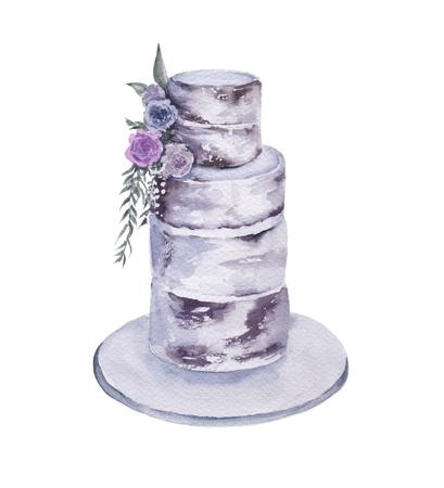 Wedding cake. Isolated on white background. Watercolor illustration