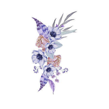 Bridal bouquet. Isolated on white background. Watercolor illustration Stock Photo