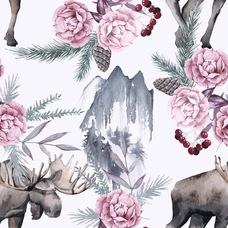 Background with moose and Siberian plants. Seamless pattern. watercolor illustration