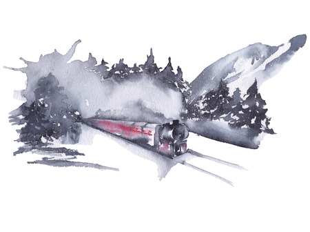 Siberia. mountain nature views with a train. watercolor illustration