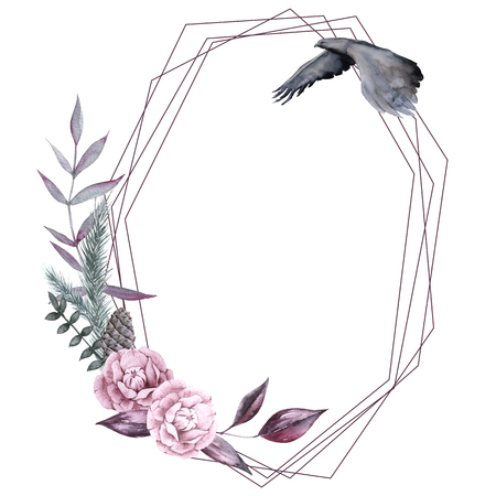 Frame with Siberian plants and flowers. isolated on white background. watercolor illustration