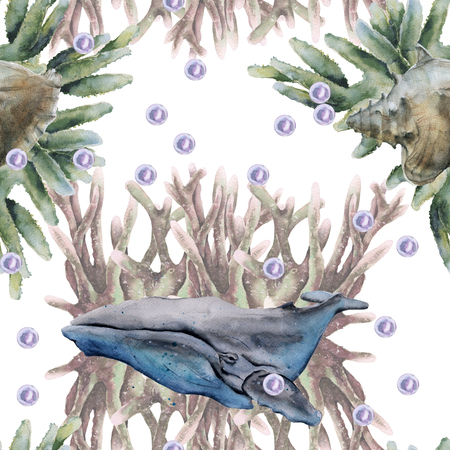 background with whale. seamless pattern. watercolor illustration