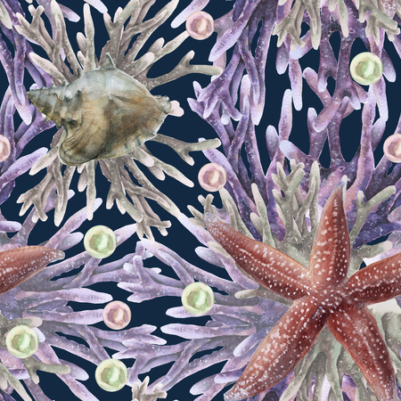 background with starfish. seamless pattern. watercolor illustration