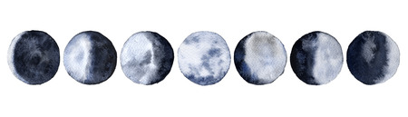 Moon phases. Isolated on white background. Watercolor illustration.