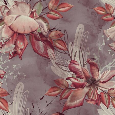 Background of roses, twigs and leaves. Seamless pattern. Raster illustration