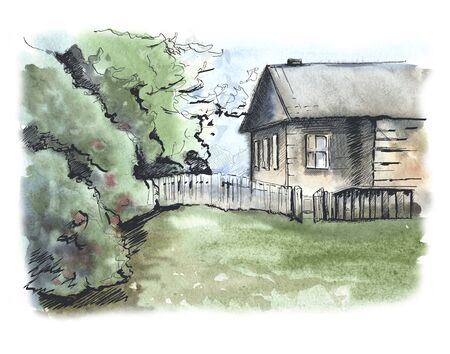 Country house and lawn. Background image. Watercolor illustration 写真素材