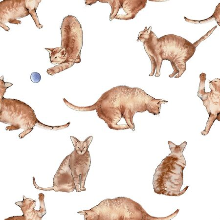 Background from cats. Seamless pattern. Watercolor illustration