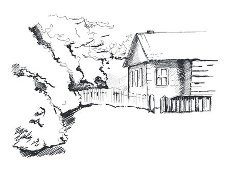 Country house and lawn. Background image. Graphic sketch