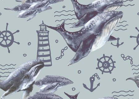 Background with sea whales. Seamless pattern. Watercolor illustration