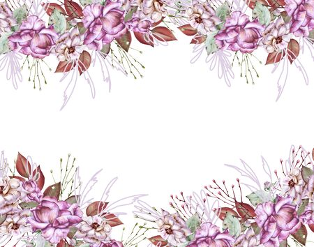 Frame of roses. Isolated on white background. Watercolor illustration Stock Photo