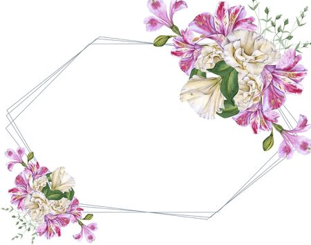 Frame of Orchid Flowers. Isolated on a white background.