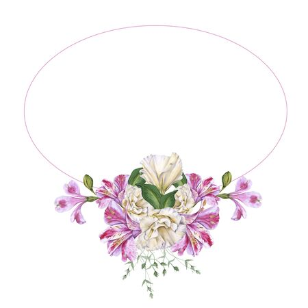 Frame of Orchid Flowers. Isolated on a white background. Watercolor illustration.
