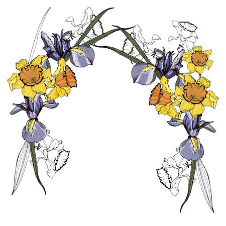 Frames of daffodil and iris flowers. Isolated over white background.