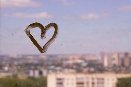 yellow heart on the window