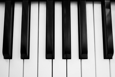 sonata: music piano top view Stock Photo