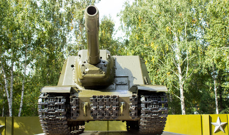 terrorists: heavy old tank the mechanism of movement of armor to fight enemies and terrorists