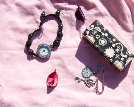 chosen: A collage of pink womens clothing and fashion accessories and jewelry chosen for this outfit Stock Photo
