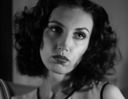 golden age: The model in the image of a famous movie star of Hollywoods Golden age style fashion beauty makeup