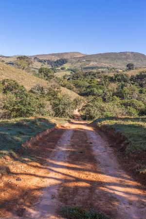 dry grass: Road and mountains of Minas Gerais State - Serra da Canastra National Park - Brazil
