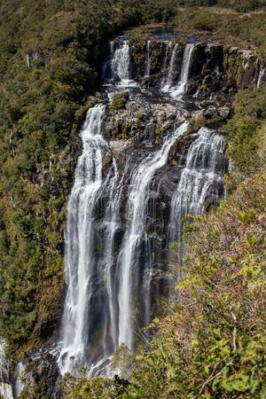 tigre: Tigre Preto waterfall (Black Tiger waterfall) with 400 meters high - Serra Geral National Park - Cambara do Sul - Brazil Stock Photo