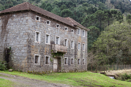 ghost rock: An old abandoned stone house at Rio Grande do Sul - Brazil Stock Photo