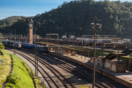 basslet: Railroad and Clock Tower of Paranapiacaba - SP - Brazil Stock Photo
