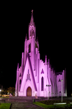 stained glass church: Night view of Church of Christ the King - Bento Goncalves - RS - Brazil
