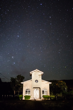stellar: Stellar tracks on a moonlit night above church of Bom Jardim - Nobres - MT - Brazil Stock Photo