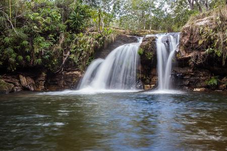 guimaraes: Waterfall at Chapada dos Guimaraes - Mato Grosso - Brazil Stock Photo