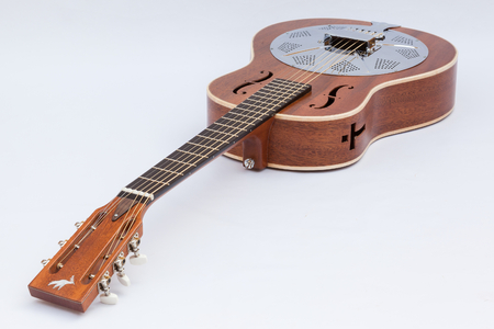 resonator: Resonator acoustic guitar made by luthier Luciano Queiroz, Mahogany body. Stock Photo