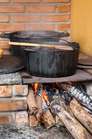woodburning: Pots and pans on the stove over a natural fire for cooking