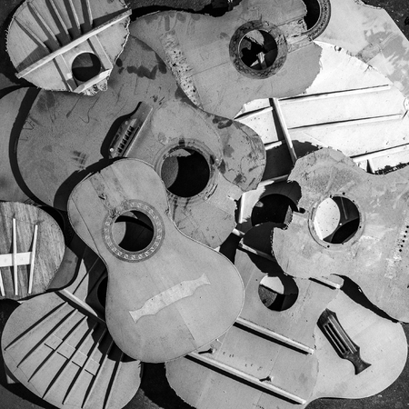 hunker: Old parts of broken guitars - Black and White photography