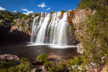 man waterfalls: Gruta Waterfall - Serra da Canastra National Park - Delfinopolis - MG - Brazil