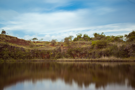 reflexive: Reflexive lake with blue sky, clouds and green vegetation