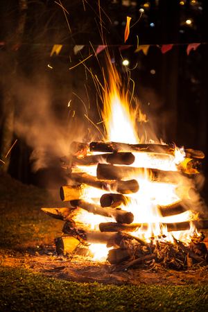 lag: Campfire of traditional June festivities in countryside of Sao Paulo state - Brazil