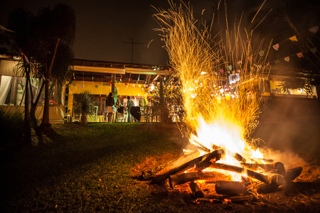 agouti: Campfire of traditional June festivities in countryside of Sao Paulo state - Brazil