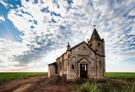 old church: Ruins of abandoned church at Sussui - Palmital SP - Brazil Stock Photo